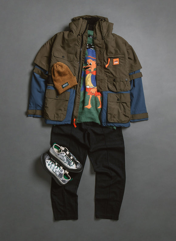 converse x brain dead bosey outfit grid