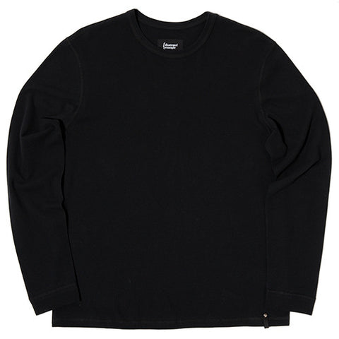 {ie MOSS STITCH LONG SLEEVE T-SHIRT / BLACK - 1