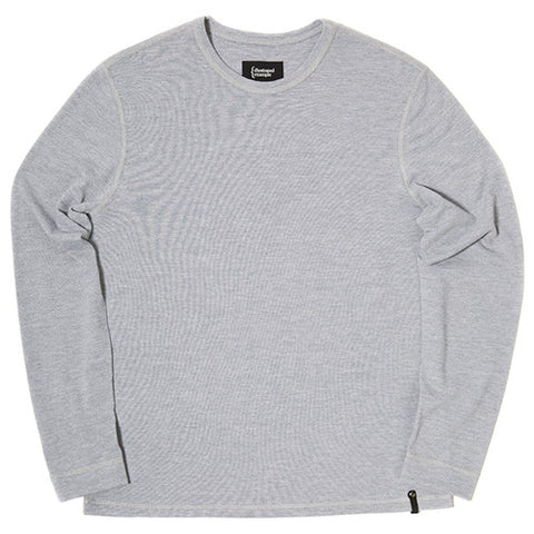 {ie MOSS STITCH LONG SLEEVE T-SHIRT / HEATHER GREY - 1