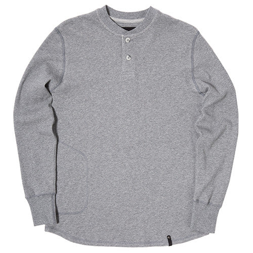 {ie DOUBLE KNIT HENLEY / HEATHER GREY - 1