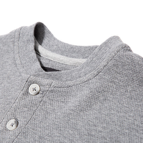 {ie DOUBLE KNIT HENLEY / HEATHER GREY - 3