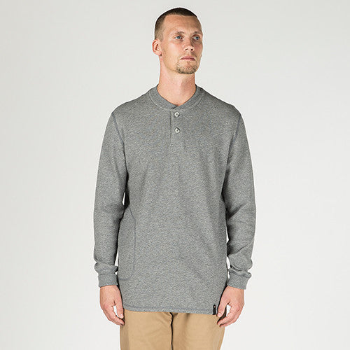 {ie DOUBLE KNIT HENLEY / HEATHER GREY - 8
