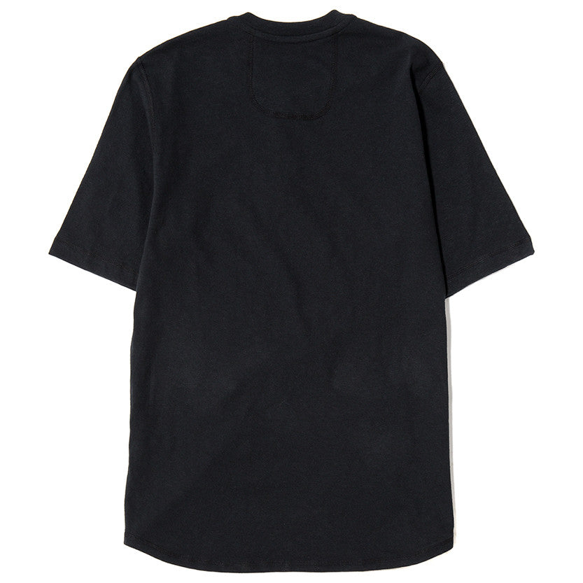 {ie SHORT SLEEVE HENLEY T-SHIRT / BLACK SLUB - 2