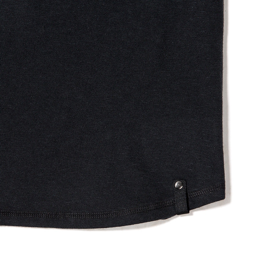 {ie SHORT SLEEVE HENLEY T-SHIRT / BLACK SLUB - 4
