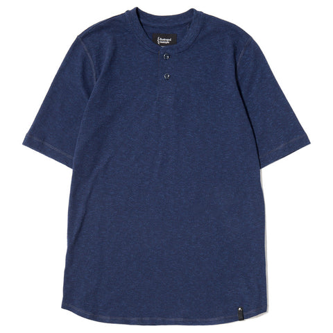 {ie SHORT SLEEVE HENLEY T-SHIRT / INDIGO SLUB - 1