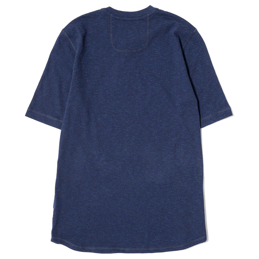 {ie SHORT SLEEVE HENLEY T-SHIRT / INDIGO SLUB - 2