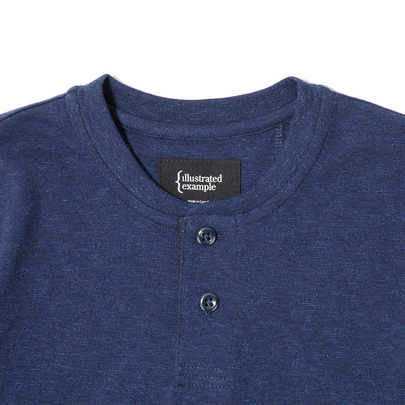 {ie SHORT SLEEVE HENLEY T-SHIRT / INDIGO SLUB - 3