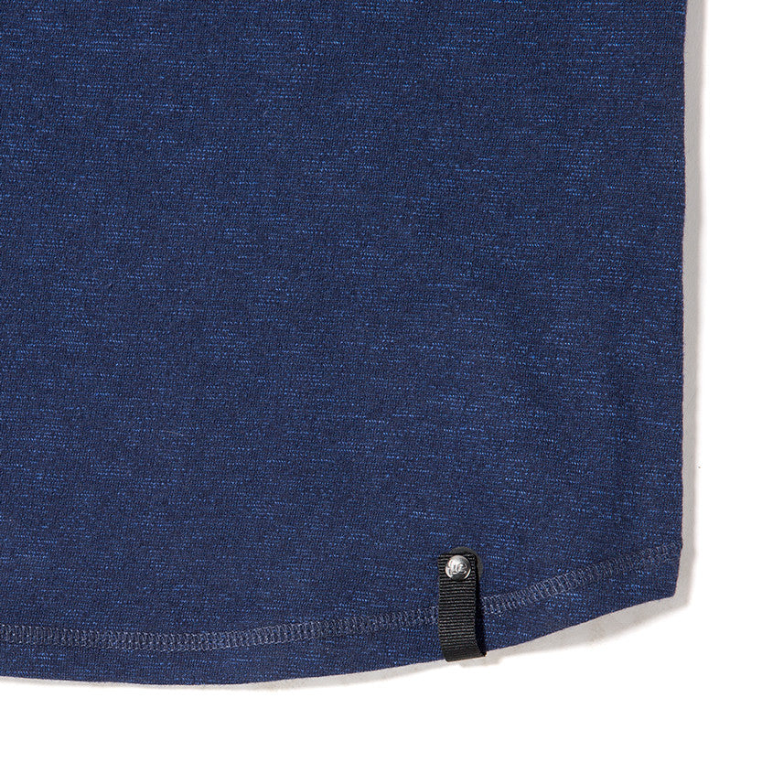 {ie SHORT SLEEVE HENLEY T-SHIRT / INDIGO SLUB