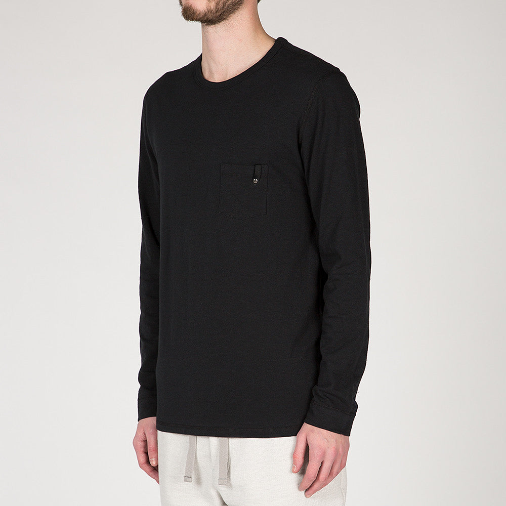 {ie LONG SLEEVE POCKET T-SHIRT / BLACK SLUB