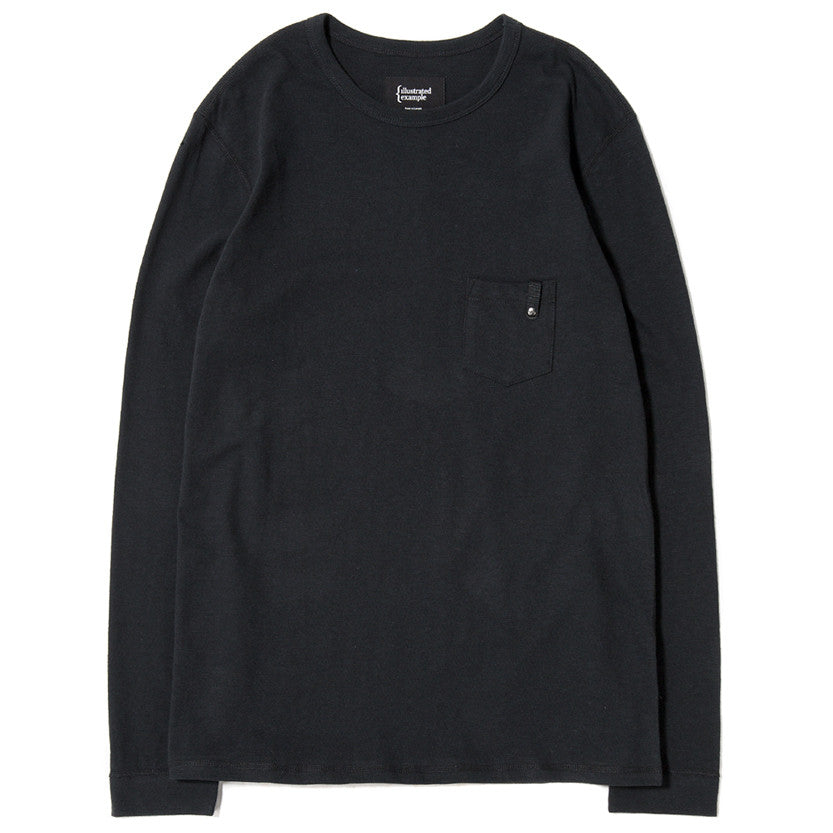 {ie LONG SLEEVE POCKET T-SHIRT / BLACK SLUB - 1