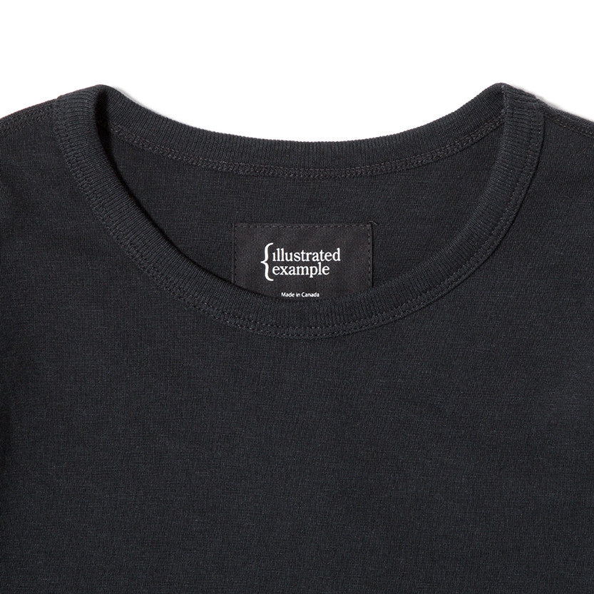 {ie LONG SLEEVE POCKET T-SHIRT / BLACK SLUB - 3