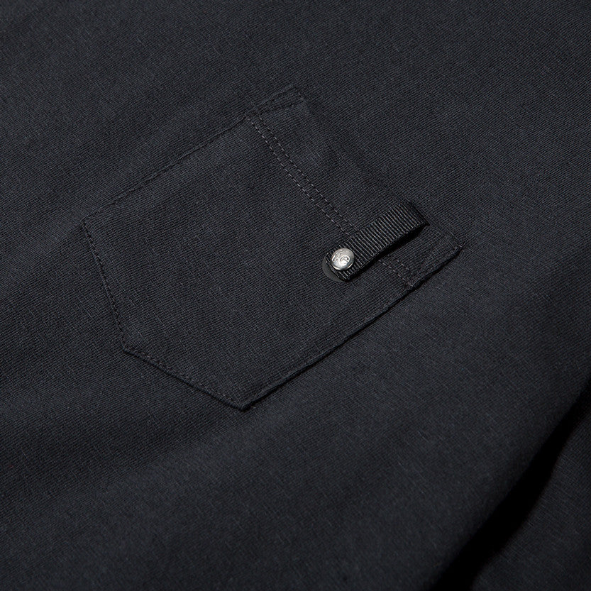{ie LONG SLEEVE POCKET T-SHIRT / BLACK SLUB - 5