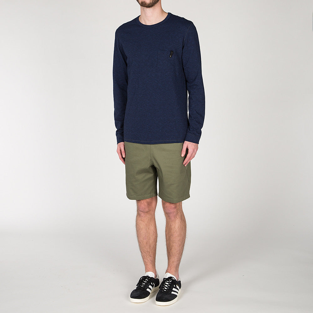 {ie LONG SLEEVE POCKET T-SHIRT / INDIGO SLUB