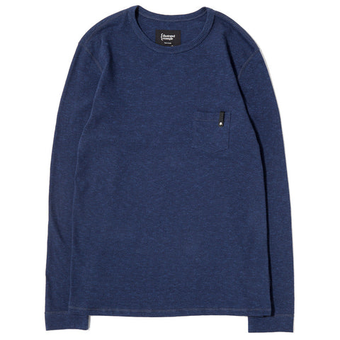 {ie LONG SLEEVE POCKET T-SHIRT / INDIGO SLUB - 1