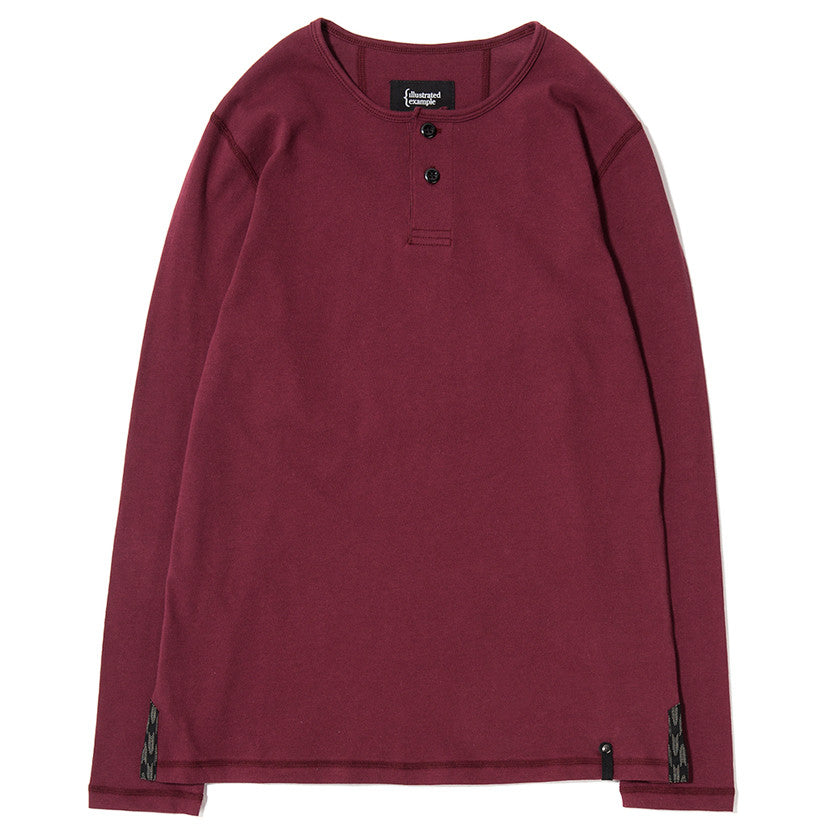 {ie LONG SLEEVE HENLEY / BURGUNDY SUPIMA - 1