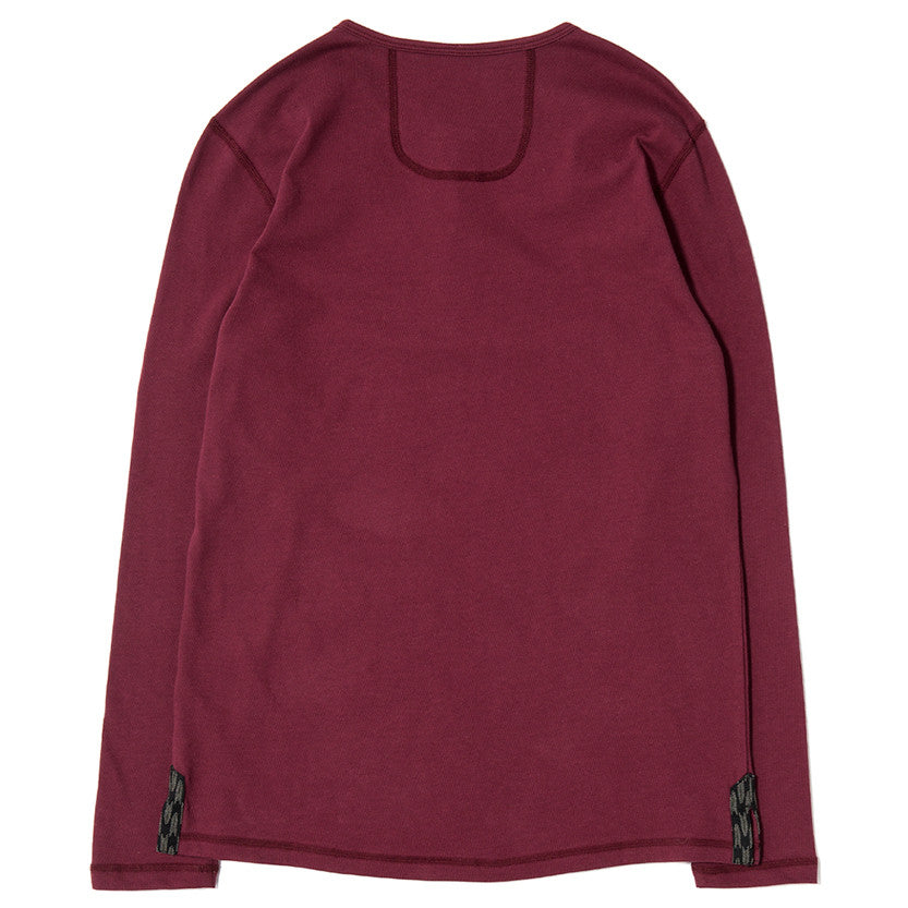 {ie LONG SLEEVE HENLEY / BURGUNDY SUPIMA - 2