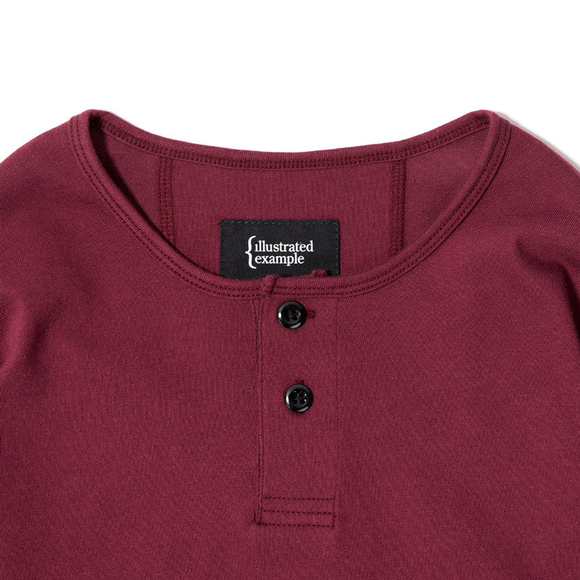 {ie LONG SLEEVE HENLEY / BURGUNDY SUPIMA - 3