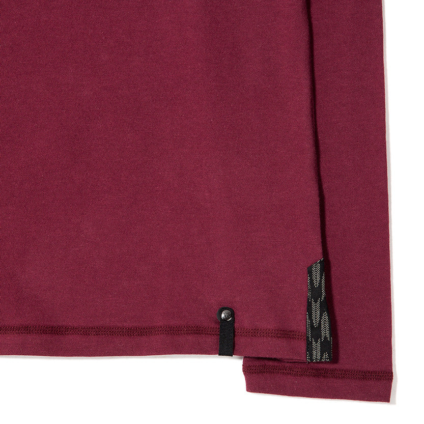 {ie LONG SLEEVE HENLEY / BURGUNDY SUPIMA - 4