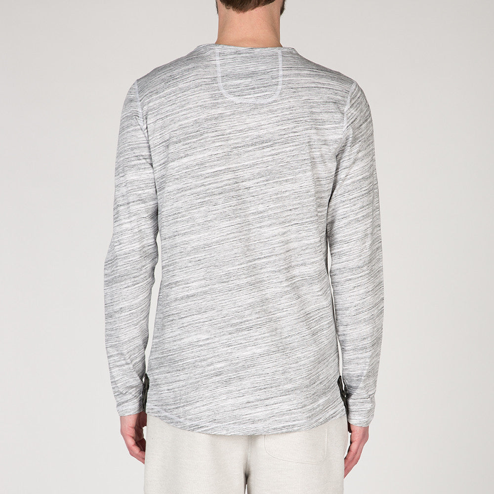 {ie LONG SLEEVE HENLEY / WHITE MELANGE