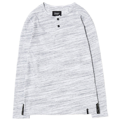 {ie LONG SLEEVE HENLEY / WHITE MELANGE - 1
