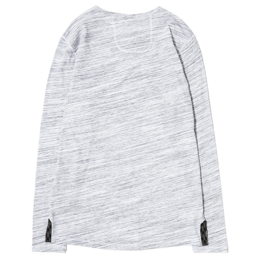 {ie LONG SLEEVE HENLEY / WHITE MELANGE - 2