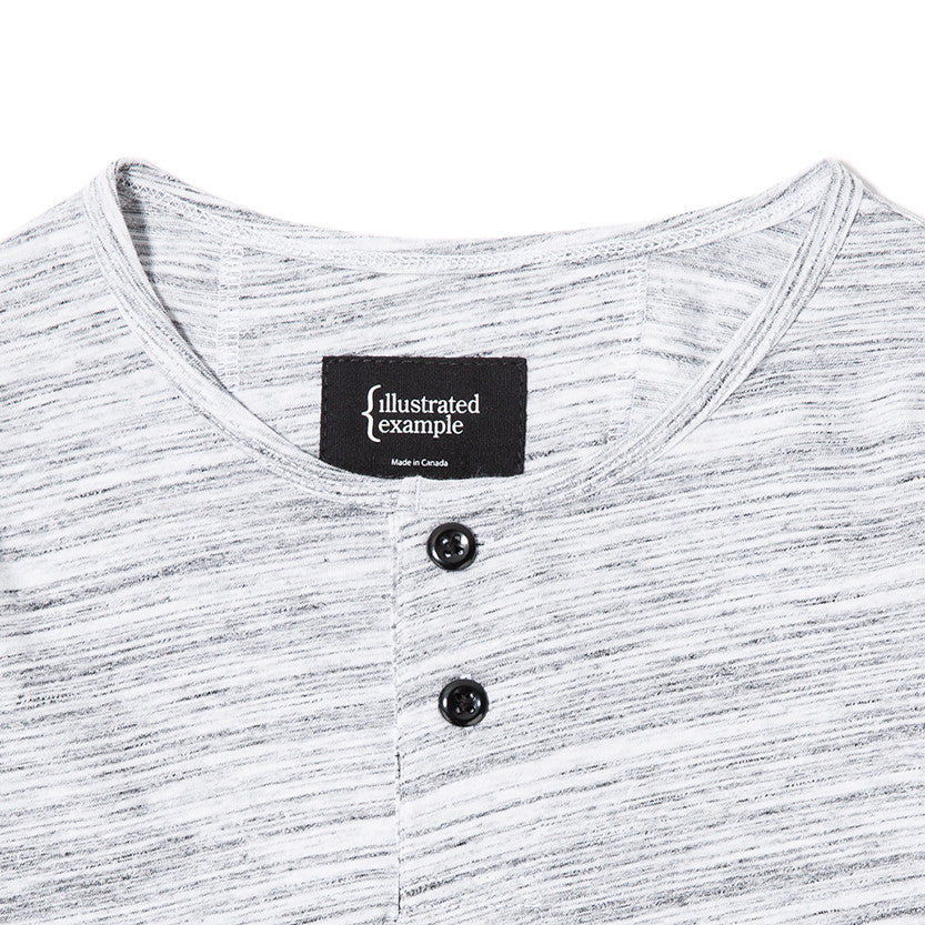 {ie LONG SLEEVE HENLEY / WHITE MELANGE - 3