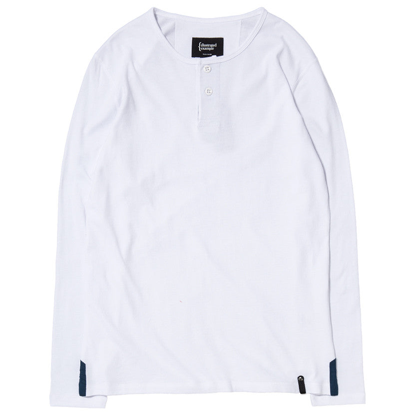 {ie LONG SLEEVE HENLEY / WHITE SUPIMA - 1