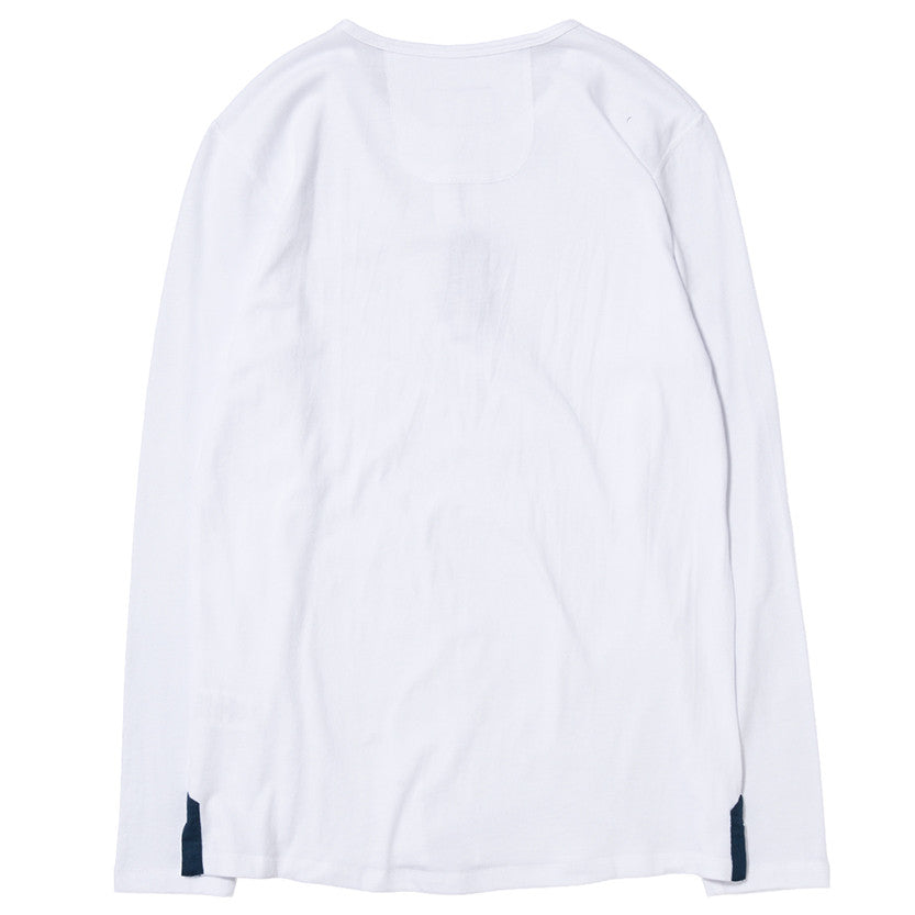 {ie LONG SLEEVE HENLEY / WHITE SUPIMA - 2