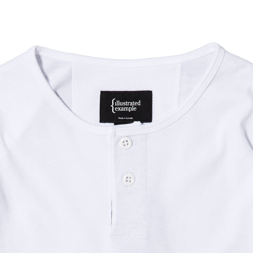{ie LONG SLEEVE HENLEY / WHITE SUPIMA - 3