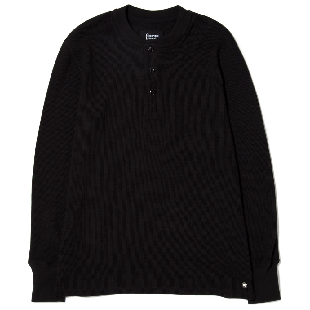 style code 1024THF17BLK. {ie WAFFLE HENLEY / BLACK