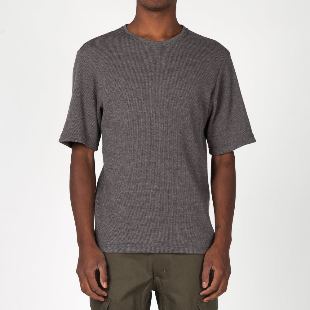style code 1026THF17CHA. {ie WAFFLE T-SHIRT / CHARCOAL