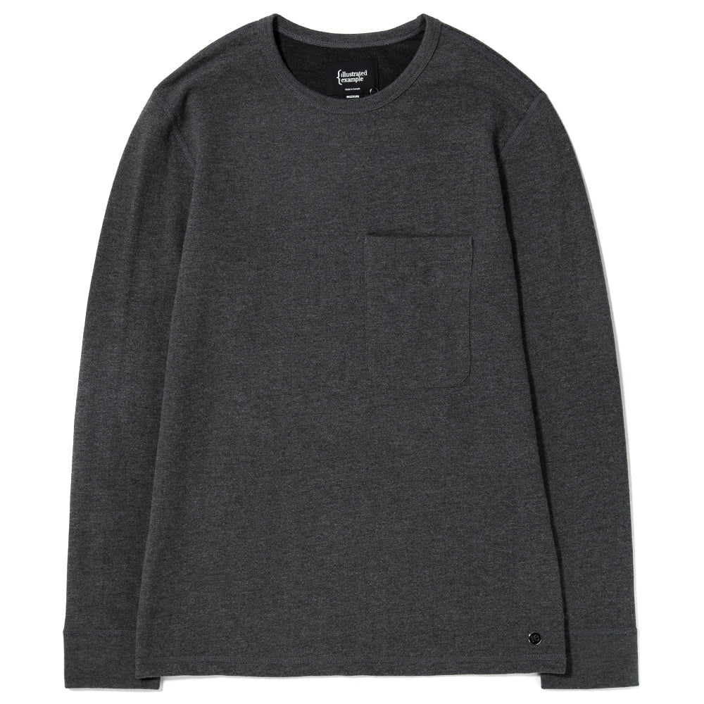 {ie LONG SLEEVE POCKET T-SHIRT / HEATHER CHARCOAL