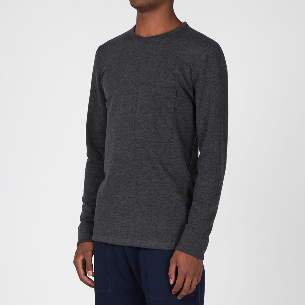 style code 1027LTEF17HCH. {ie LONG SLEEVE POCKET T-SHIRT / HEATHER CHARCOAL