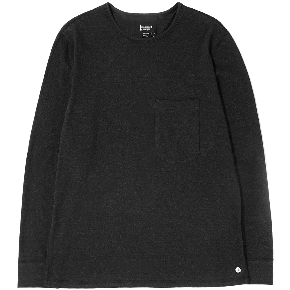 Style code 1027S18BLK. {ie LONG SLEEVE POCKET T-SHIRT / BLACK