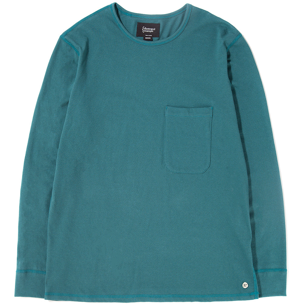 Style code 1027S18TEA.{ie LONG SLEEVE POCKET T-SHIRT / TEAL