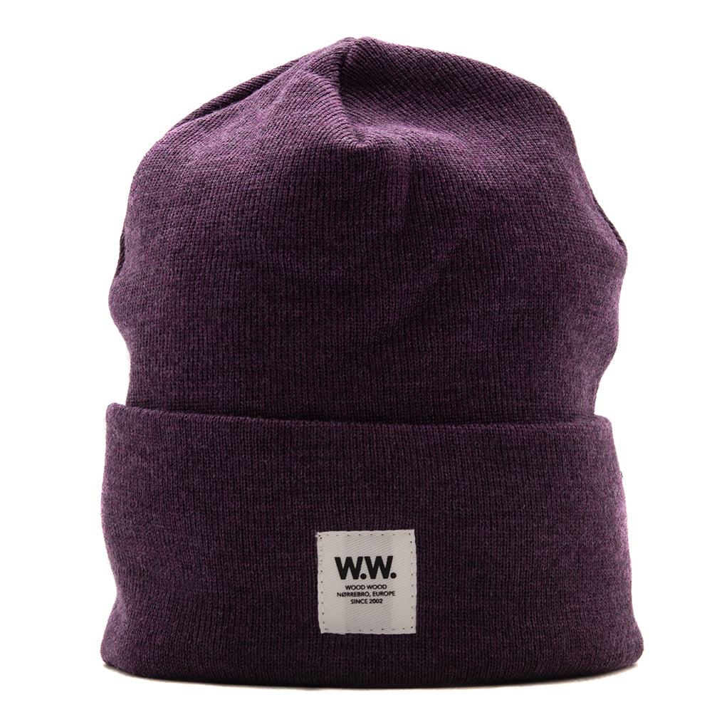Style code 118308124068PRP. Wood Wood Gerald Tall Beanie / Purple