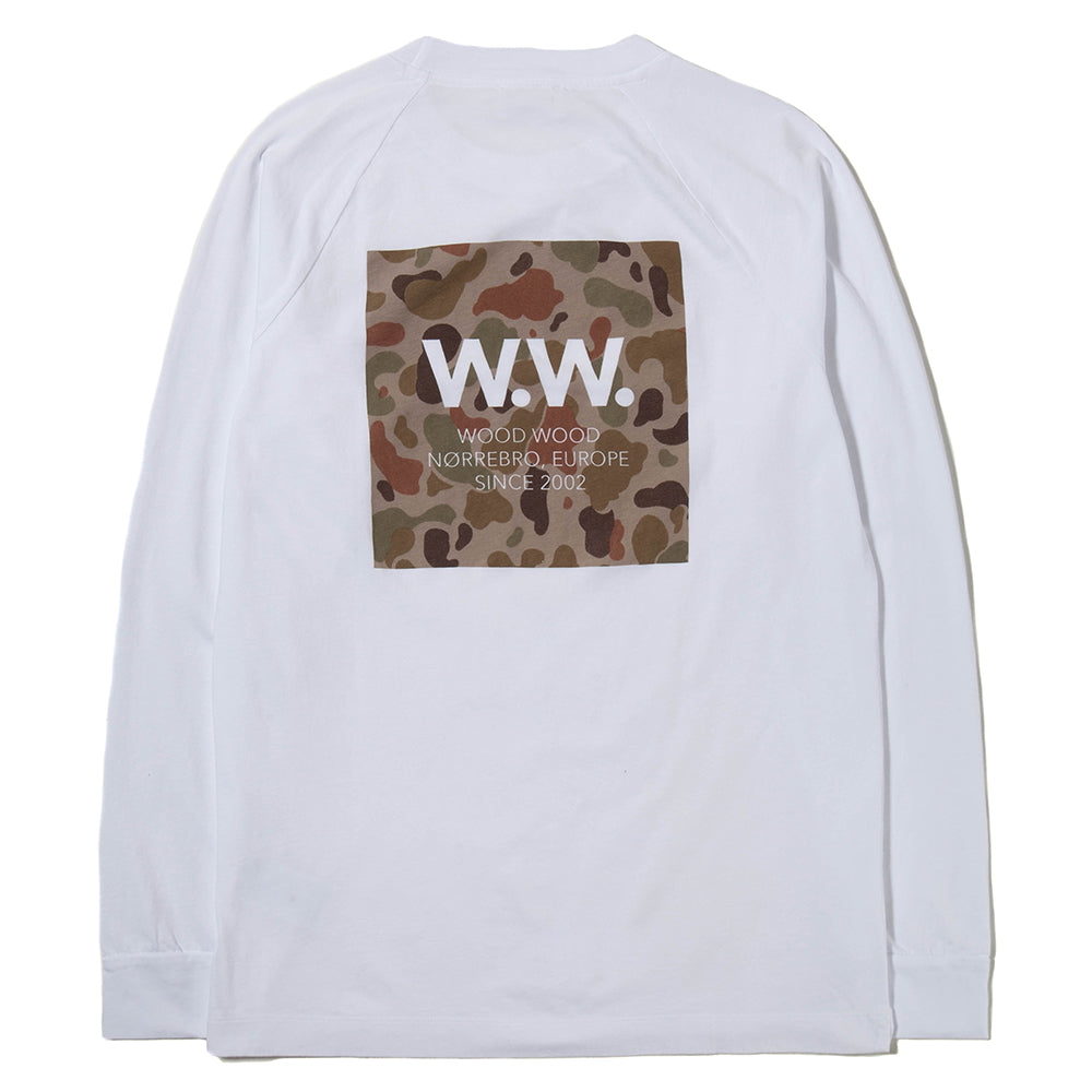 Wood Wood Han Long Sleeve T-shirt / White - Deadstock.ca