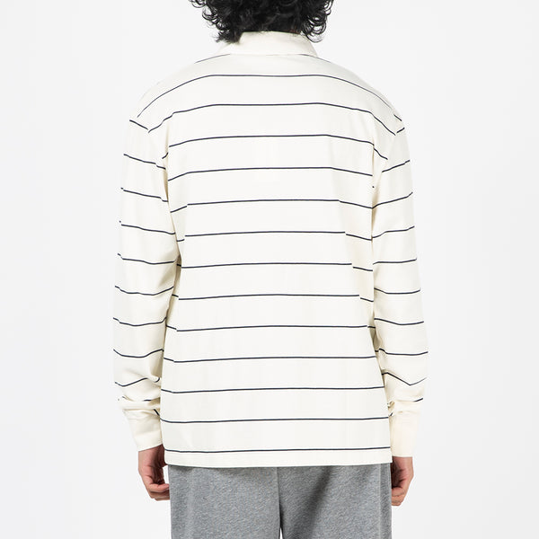 Wood Wood Beck Long Sleeve Rugby Shirt / Off White Stripes