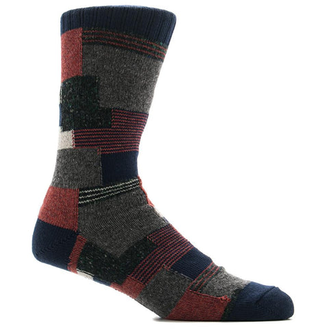ANONYMOUS ISM PATCHWORK CREW SOCK / NAVY - 1