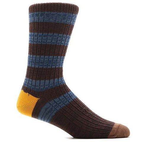 ANONYMOUS ISM STRIPE CREW SOCK / BROWN - 1