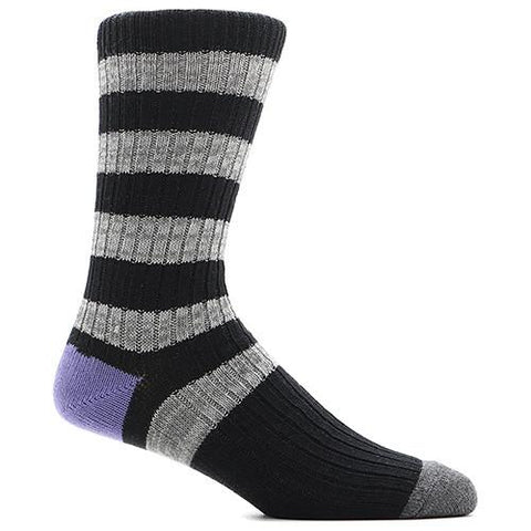 ANONYMOUS ISM STRIPE CREW SOCK / BLACK - 1