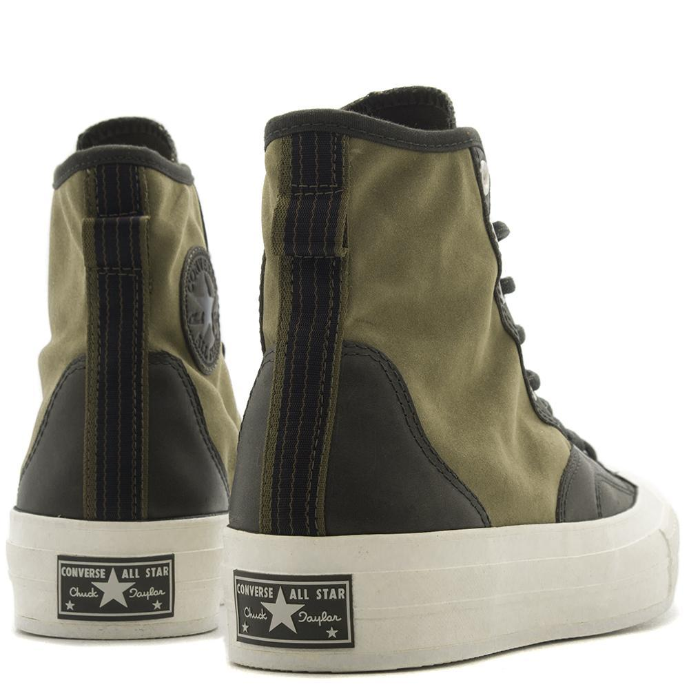 Style code 157485C. CONVERSE CTAS '70 LEATHER NYLON HIKER HI / MEDIUM OLIVE