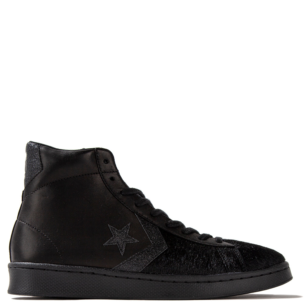 Converse Pony Hair Pro Leather Mid Black / Black - Deadstock.ca