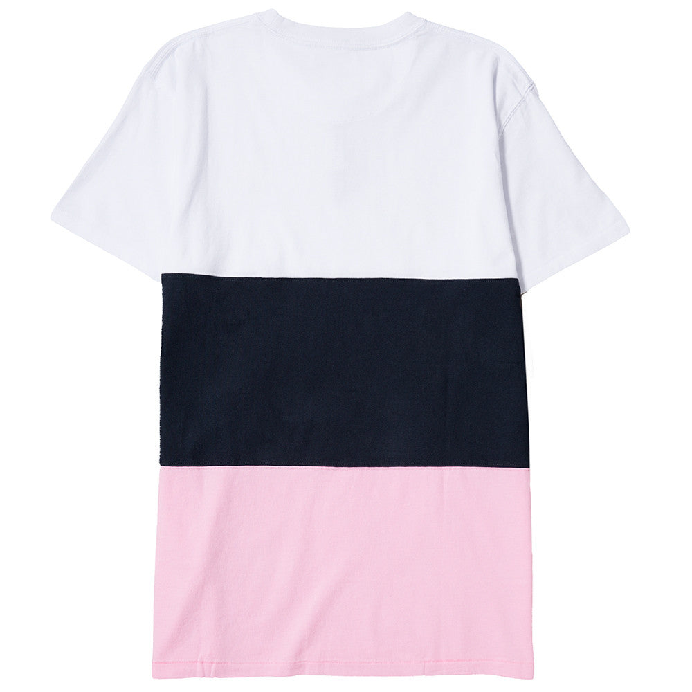 QUIET LIFE SOLAR COLOR BLOCKED T-SHIRT WHITE / NAVY