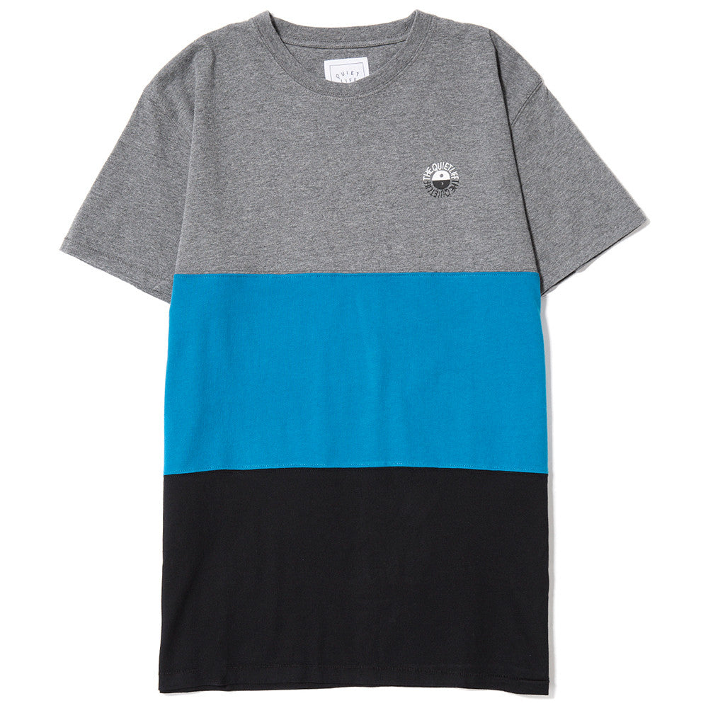 style code 17SPD22111GRY. QUIET LIFE SOLAR COLOR BLOCKED T-SHIRT GREY / BLUE