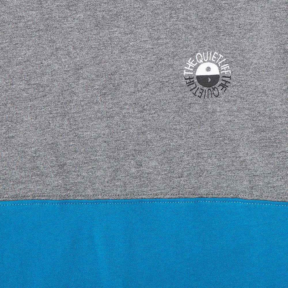 QUIET LIFE SOLAR COLOUR BLOCKED T-SHIRT GREY / BLUE