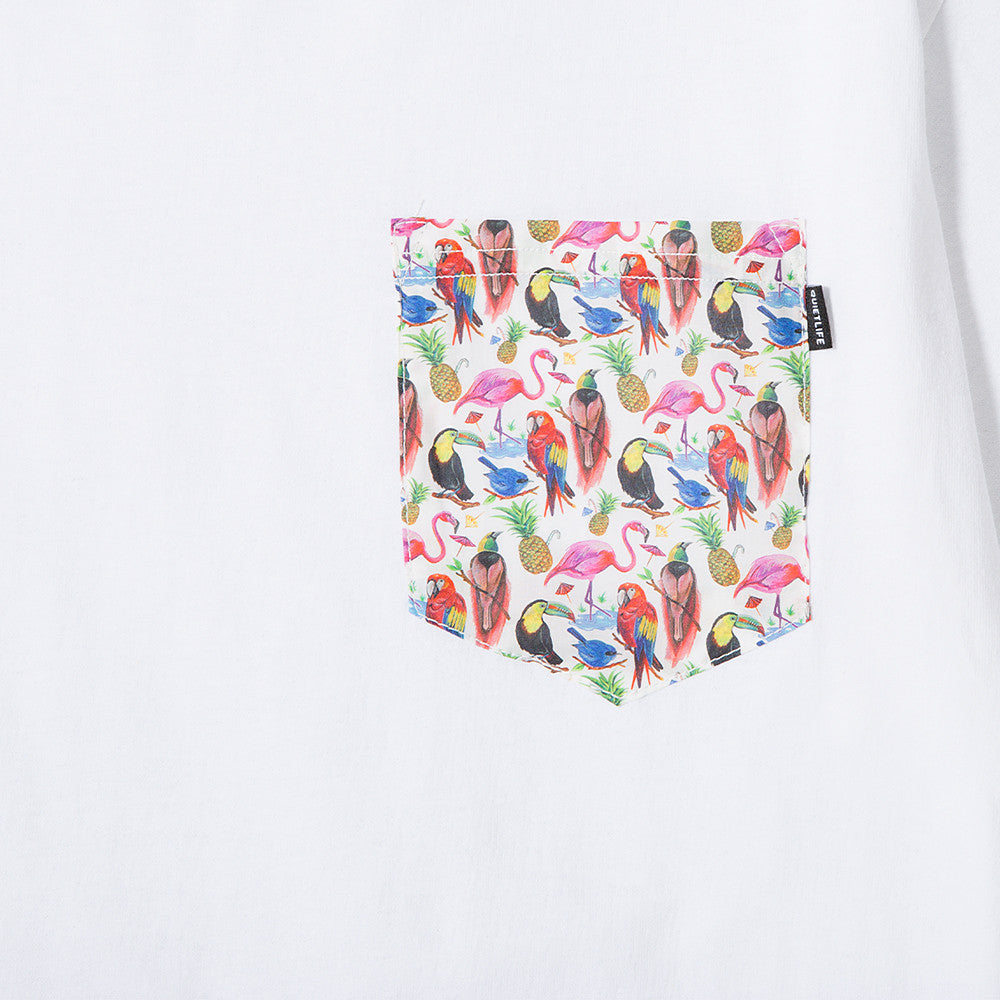 QUIET LIFE LIBERTY BIRDS OF PARADISE POCKET T-SHIRT / WHITE