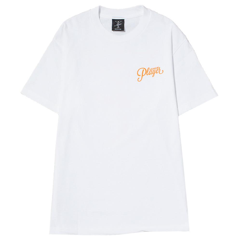 style code 17SU01AP0201WHO. ALLTIMERS LEAGUE PLAYER T-SHIRT WHITE / SAFETY ORANGE