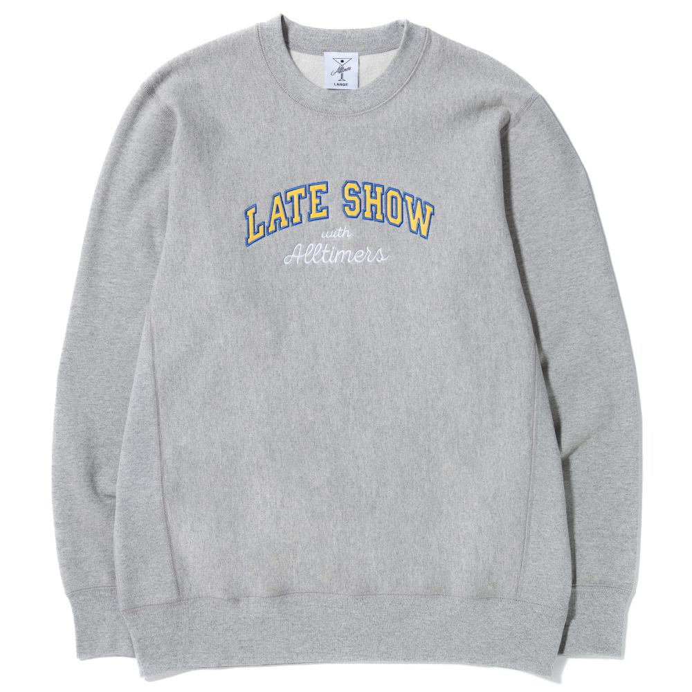 style code 17FA01AP0303HEA. ALLTIMERS LATE SHOW PREMIUM CREWNECK / HEATHER GREY