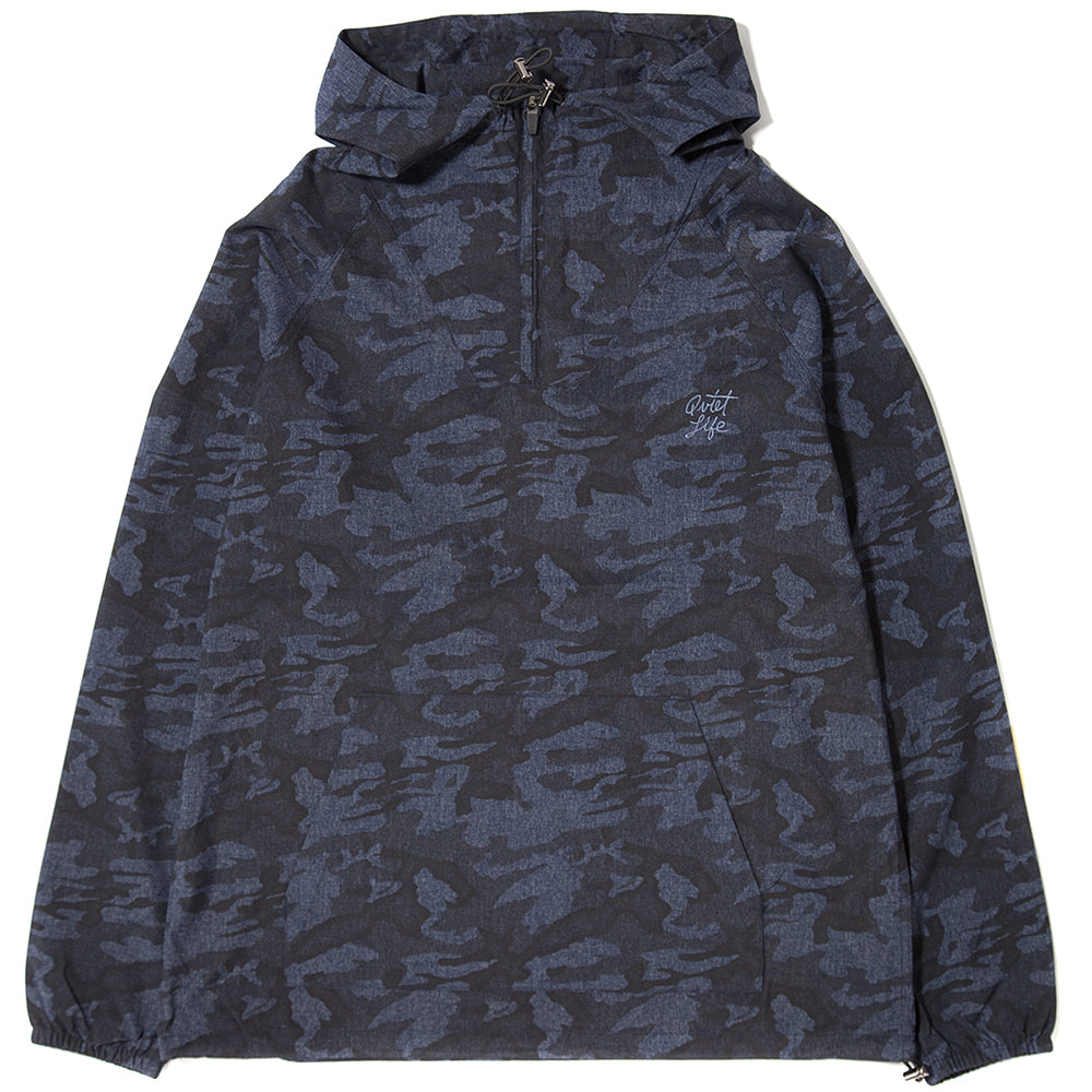 style code 17FWD11104NVY. QUIET LIFE CAMO WINDY PULLOVER / NAVY